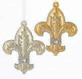 Kurt Adler Fleur De Lis Gold and Champagne Jeweled Christmas Holiday Ornaments Set of 2