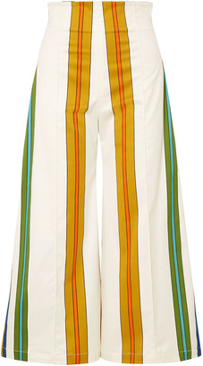 Anna Sui Cotton-blend Sateen Wide-leg Pants
