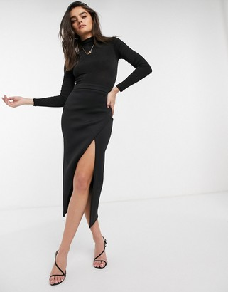 True Violet Exclusive coordinating wrap skirt with thigh slit in black