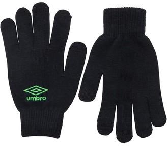 Umbro Mens Knitted Tech Gloves Black/Green