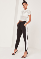 Missguided Striped Elastic Side Joggers Black