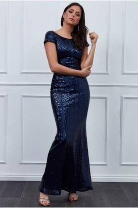 Goddiva Open Back Sequin Maxi Dress - Navy