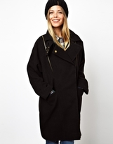 Asos Textured Zip Detail Oversized Coat - Black