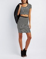 Charlotte Russe Striped Caged-Back Crop Top