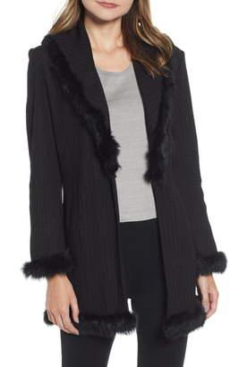 Ming Wang Faux Fur Trim Shawl Collar Cardigan