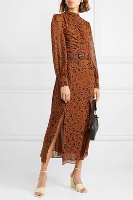 Nicholas Ruched Belted Leopard-print Silk-chiffon Midi Dress - Light denim
