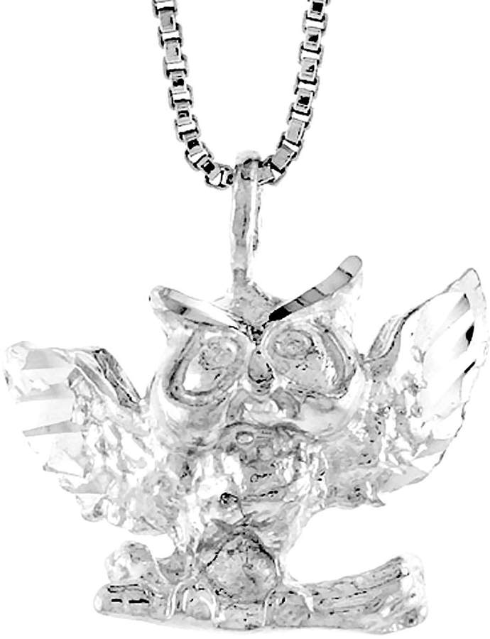 Sabrina Silver Sterling Silver Owl Pendant, 1/2 inch