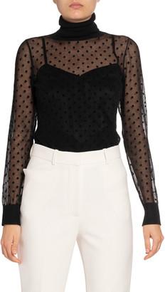 Victoria Beckham Sheer Dotted Turtleneck Sweater