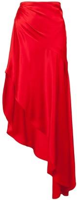 Monse Crepe Back Satin Flared Skirt