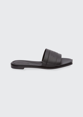 Alexander McQueen Leather Logo Flat Slide Sandals
