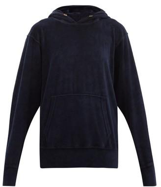 LES TIEN Cotton-blend Velour Hooded Sweatshirt - Navy
