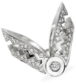 Akillis Capture Me 18K White Gold & Diamond V Ring