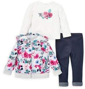 Little Me Baby Girl's 3-Piece Floral Hoodie Set