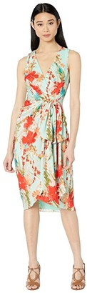 Badgley Mischka Sleeveless Aqua Print Runway Dress (Aqua Multi) Women's Dress