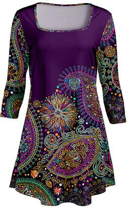 Lily Women's Tunics PRP - Purple & Teal Paisley Square Neck Tunic - Women & Plus