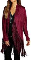 Pink Queen Women's Solid Faux Suede Fringe Waterfall Jacket Coat(,L)