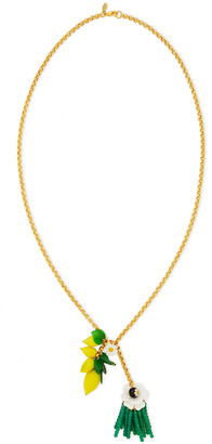 Elizabeth Cole 24-karat Gold-plated Multi-stone Necklace