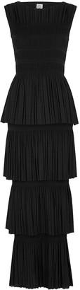 Totême Aramon black tiered maxi dress