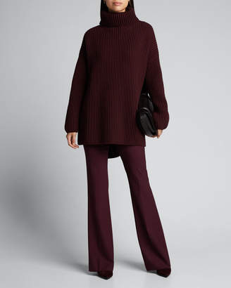 Joseph Oversized High-Low Wool Turtleneck Sweater