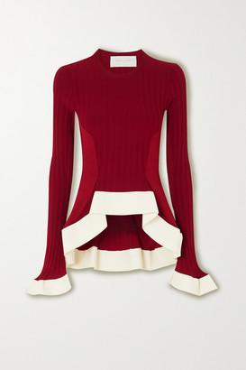 Esteban Cortazar Asymmetric Ribbed-knit Sweater - Red