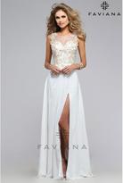 Faviana s7503 Ivory Sexy Chiffon Sweetheart Long Dress for Homecoming 2016