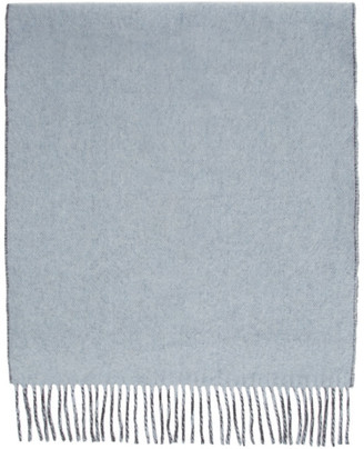 Won Hundred Reversible Blue and Grey Wool Vanessa Doubled Scarf