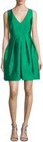 Erin Fetherston Sleeveless Pleated Taffeta Mini Dress, Kelly Green