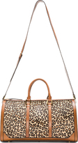 Burberry Tan Leopard Print Calf-Hair House Check Duffle Bag