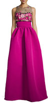 Notte by Marchesa Sleeveless Embroidered Ball Gown, Fuchsia