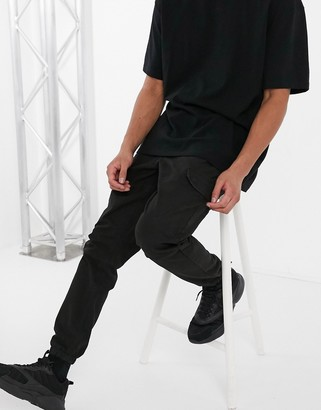 Topman skinny cargo trousers in black