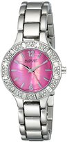 August Steiner Women's AS8135SSPK Swarovski Crystal-Accented Silver-Tone Bracelet Watch