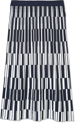 Tory Burch Motley-Check Tech Knit Pleated Skirt