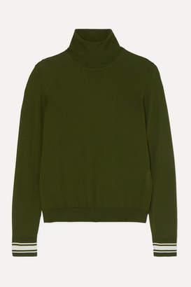 Golden Goose Striped Merino Wool-blend Turtleneck Sweater - Green