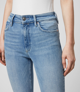 AllSaints Dax Cropped High-Rise Superstretch Skinny Jeans, Light Indigo Blue