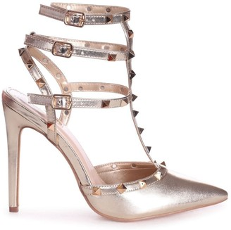 Linzi SO EXTRA - Gold Nappa Gladiator Style Studded Court Heel