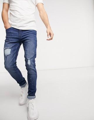 Criminal Damage harrow skinny fit jean in mid blue