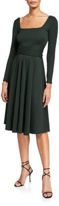 Astr Sinclair Rib-Knit Midi Dress