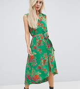 Asos Button Through Midi Dress In Floral Print