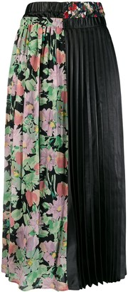 Junya Watanabe Floral Panel Pleated Skirt