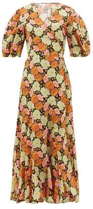 Rhode Resort Fiona Floral-print Cotton Wrap Dress - Womens - Brown Print