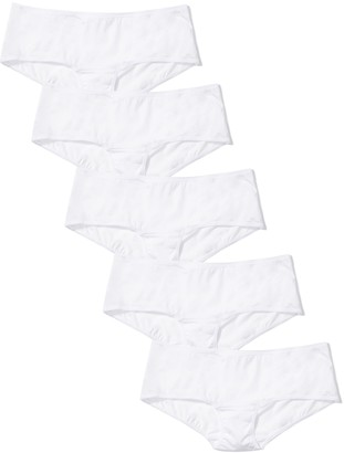 Iris & Lilly Women's Body Smooth Microfiber Hipster Pack of 5 Bright White M (US 8)
