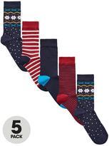 Very 5 Pk Christmas Pattern Socks Multi
