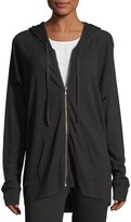 Allen Allen Long Zip-Front Hooded Jacket