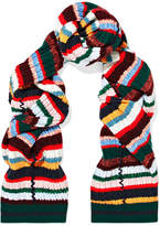 Burberry Striped Ribbed-knit Scarf - Red