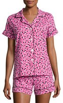BedHead Demi Ball Dot Shorty Pajama Set, Fuchsia/Black, Plus Size
