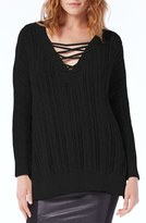 Michael Stars Lace-Up Neck Open Work Tunic Sweater