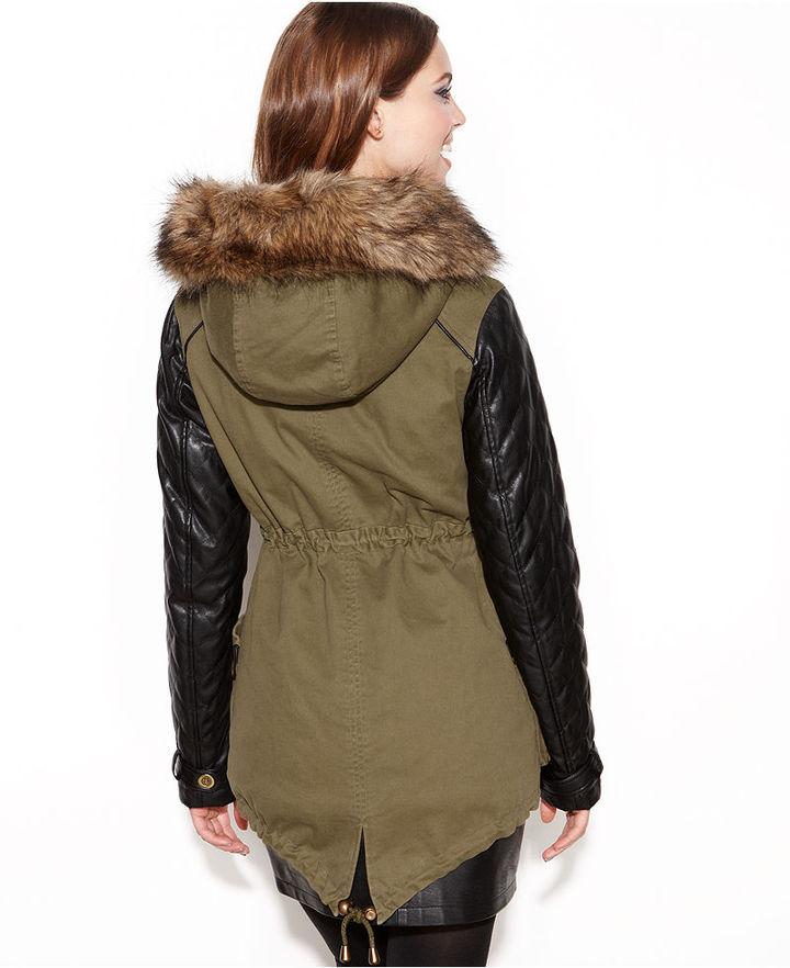 Bar III Hooded Faux-Fur-Trim Mixed-Media Parka Coat