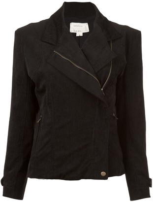 Nicole Miller Off-Center Zip Fitted Jacket