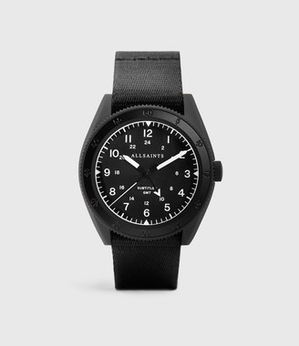 AllSaints Subtitled GMT I Matte Black Stainless Steel and Black Nylon Watch