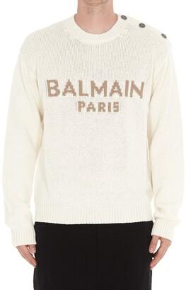 Balmain Logo Intarsia Knitted Pullover